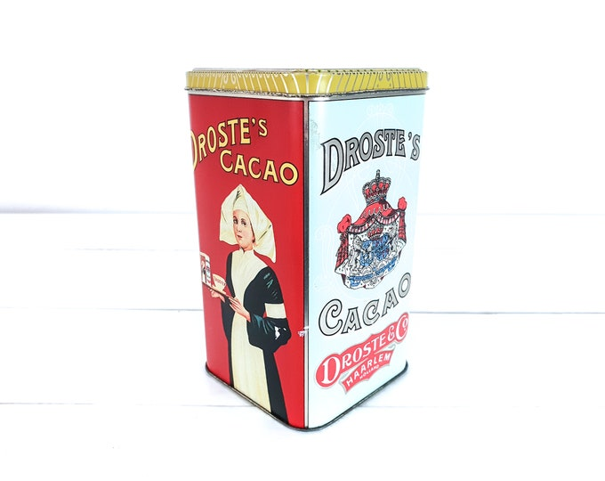 Old tin can Droste Cocoa • vintage canister nurse • storage tin • Dutch vintage tin box • old collectible tins • #1