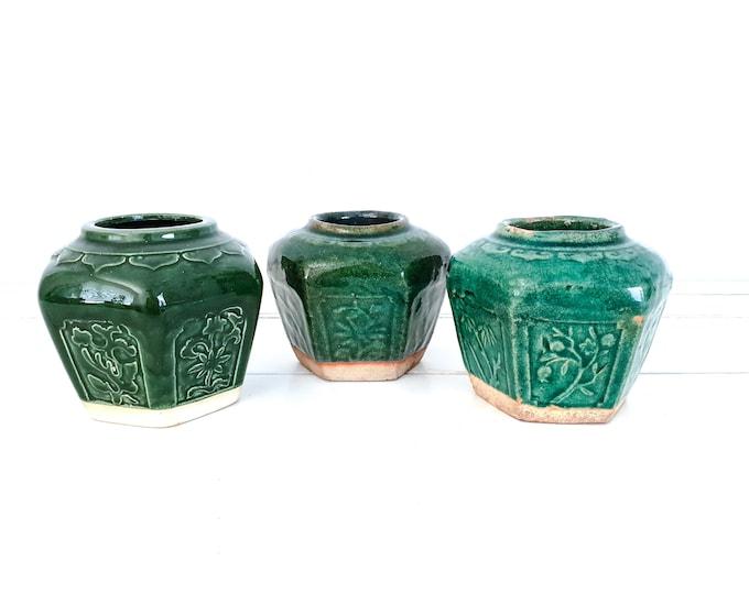 Vintage turquoise green ginger jar • antique chinese ginger pots • botanical home decor • green glazed earthenware • ceramic vases