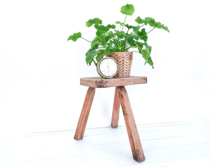 RESERVED • Old rustic farm milking stool • small vintage furniture • plant table • wood milk stool • rustic farmhouse home decoration