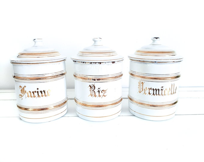 Unique set French enamel storage jars white and gold • farmhouse white enamel storage containers with lid • shabby chic kitchen accents