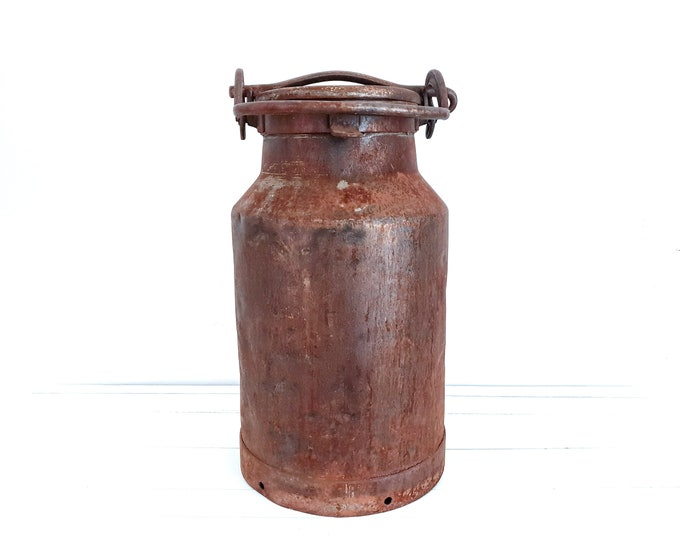 Vintage industrial large milk can • rustic milk carrier • old milk container • industrial decoration