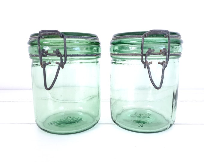 Vintage French glass preserving jar metal clip closure • Solidex • L'Ideale • glass storage jar with lid • green glassware
