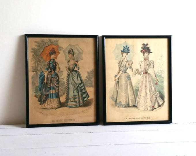 Vintage French framed fashion illustration* La mode illustrée * fashion print * french vintage art * vintage fashion print