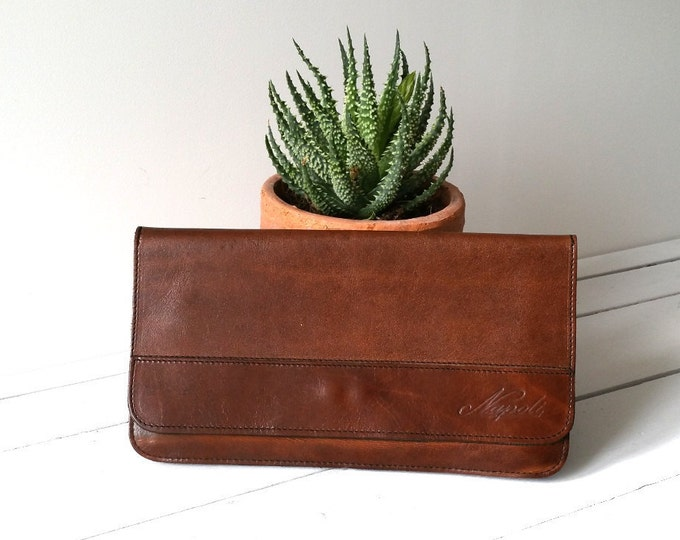 Beautiful vintage leather clutch 'Napoli'