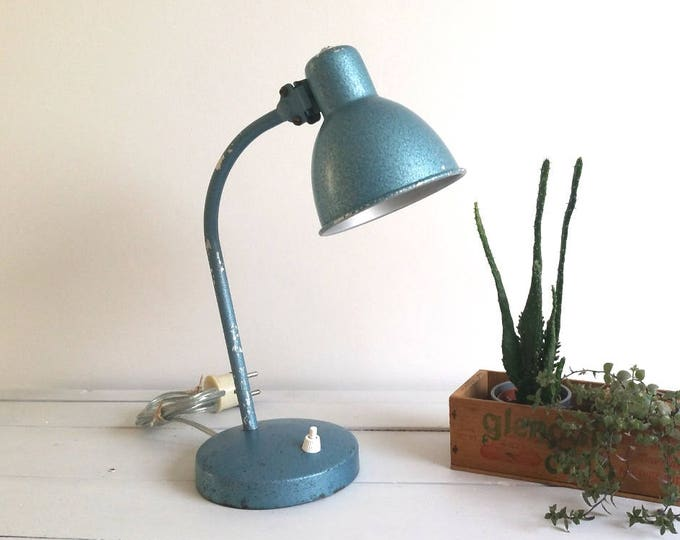 Old industrial blue metal desk lamp * industrial light * industrial home office decor * vintage lamp