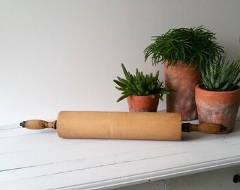 Farmhouse vintage large wooden rolling pin 'Bakery'