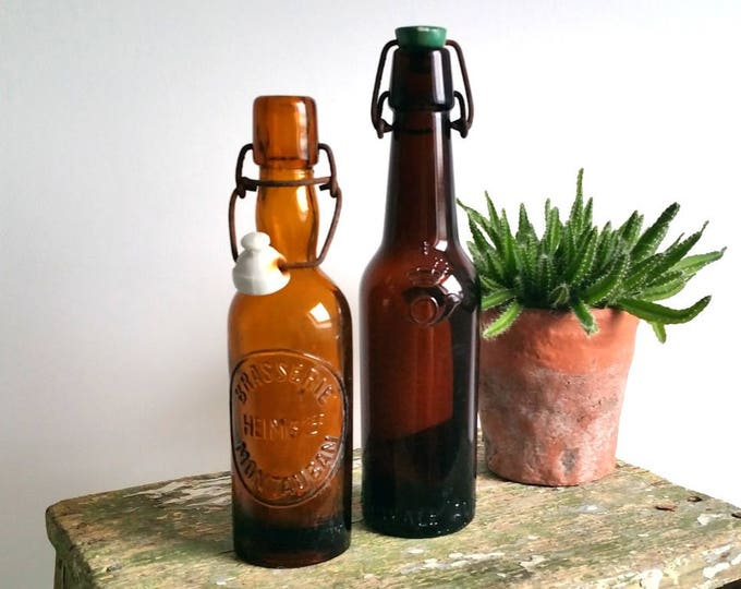 Great set vintage rustic glass beer bottles