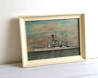 Vintage French oil painting 'Warship' * old framed painting * antique oil painting