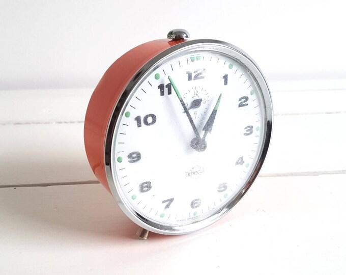 Vintage alarm clock orange 'Smiths TimeCal'