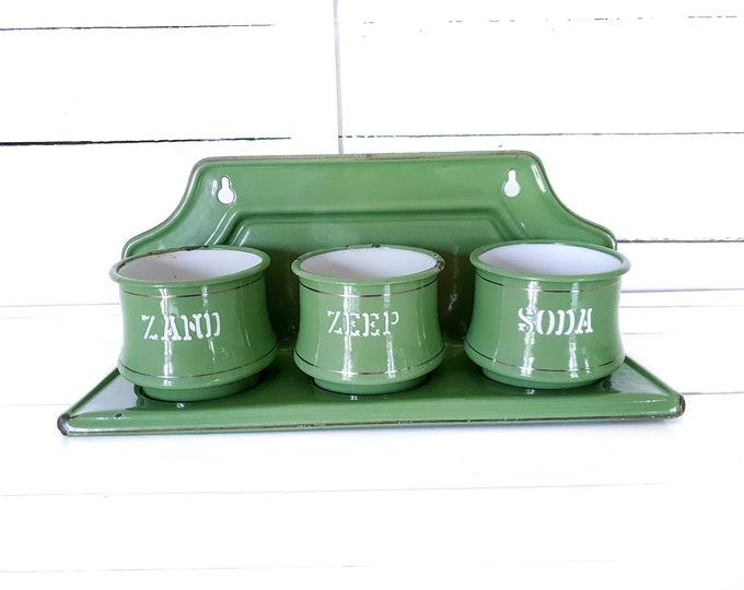 Vintage green enamel sand soap soda rack • wall rack kitchen • green enamel container set • vintage kitchen enamelware • kitchen rack