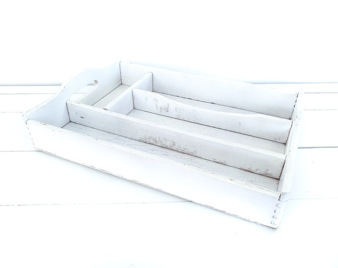 Old white wooden cutlery tray 4 compartments • wooden storage tray • farmhouse vintage cutlery holder • wooden tray