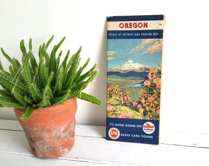 Vintage road map 'Oregon' * vintage folding road map * old route map
