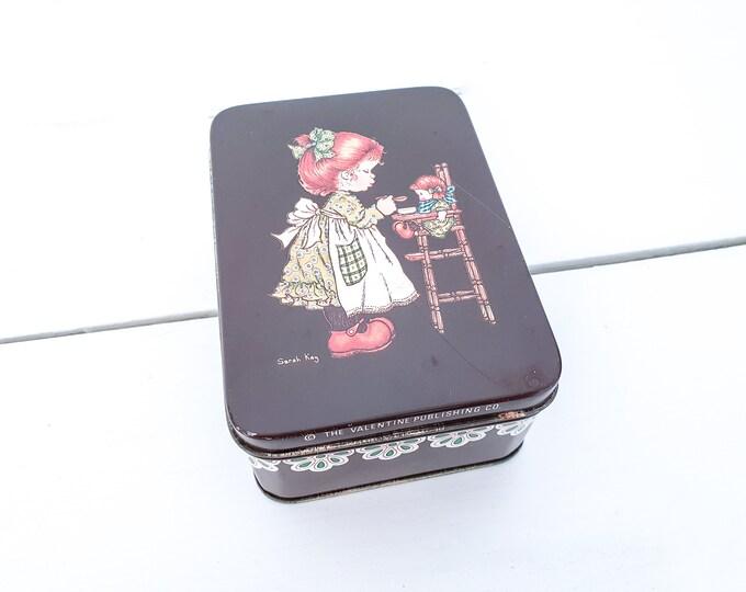 Adorable vintage tin Sarah Kay • brown tin can • vintage brown cookie tin • colletible tins • 80s collectible