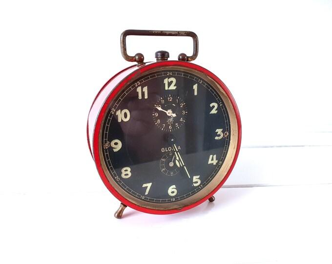 Vintage alarm clock Junghans GLoria red • windup alarm clocks • German Junghans clock • desk clock • bedroom decor • collectors clock