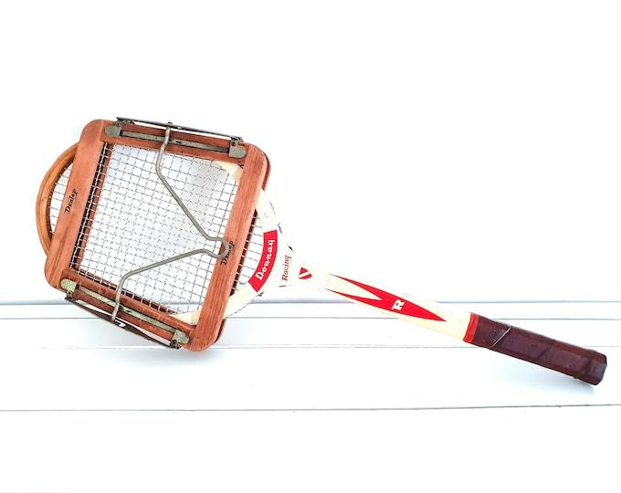 Vintage wooden tennis racket Donnay Racing with tensioner • gift tennis lovers • collectible sport equipment • tennis memorabilia
