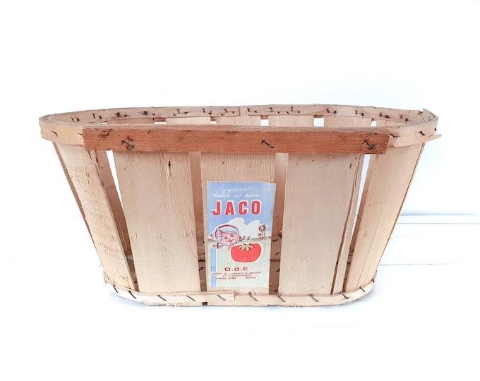 Vintage Moroccan split wood tomato harvest basket • oval fruit basket • fruit picking basket • harvest basket • country farmhouse decor #3