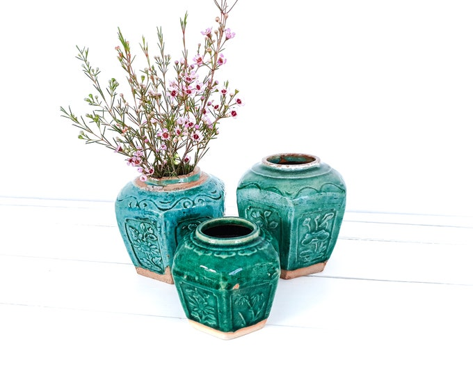 Vintage turquoise green ginger jar • antique chinese ginger pots • botanical home decor • green glazed earthenware • ceramic vases