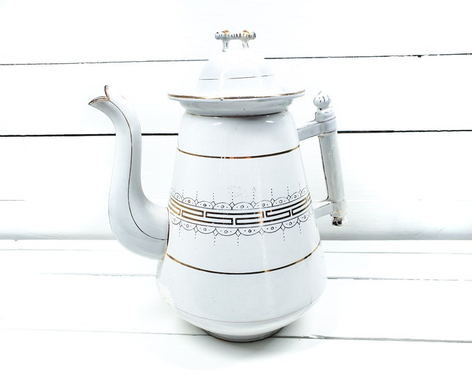 Unique antique French white and gold enamel coffee pot • vintage white shabby chic enamelware • coffee pot • shabby chique decoration