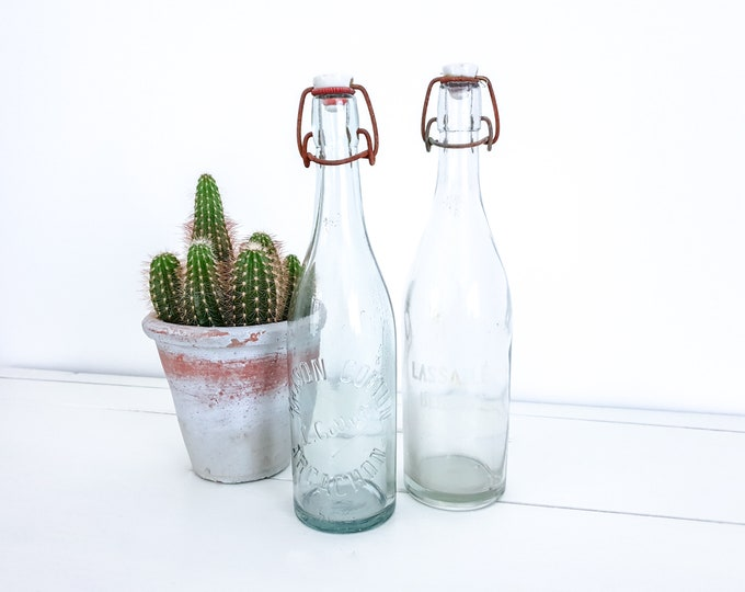 Vintage French bottles with clip closure • antique bottles with porcelain cap • French farmhouse decor • old glass bottles
