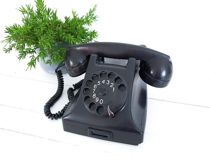 Vintage PTT telephone bakelite black • old-fashioned telephone • old landline telephone • old telephone with dial • 1956
