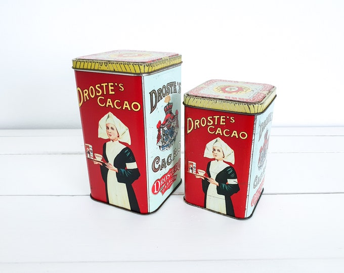 Old tin cans Droste Cocoa (set of 2) • vintage canister nurse • storage tins • Dutch vintage • collectable tins
