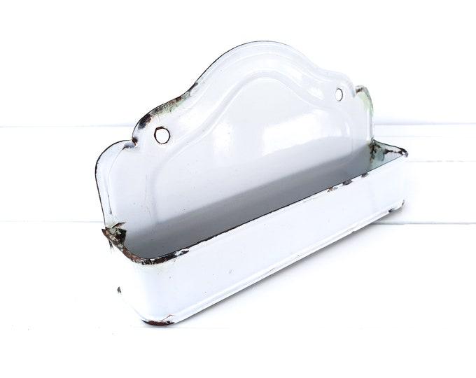 Vintage white enamel comb tray • white enamel kitchen storage • enamel wall hanging decoration • white farmhouse accents • enamelware