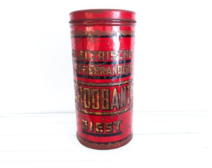 Vintage large coffee tin Douwe Egberts • antique coffee canister • old store stock canister • kitchen storage tins • advertising tin