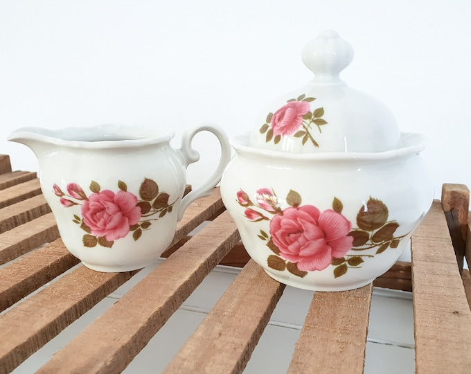 Porcelain sugar and creamer set with roses • Milk and sugar set Barock Bavaria porcelain • Seltmann Weiden Bavaria • antique tableware