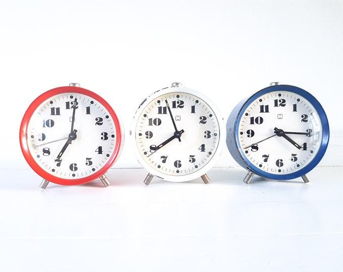 Vintage alarm clock Hema • old alarm clocks • classic retro alarm clock red white blue • home decoration • old clock