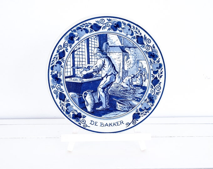 Vintage Delft blue wall plate Bakery • handpainted Delftware • handmade Delft blue Holland • country kitchen decor