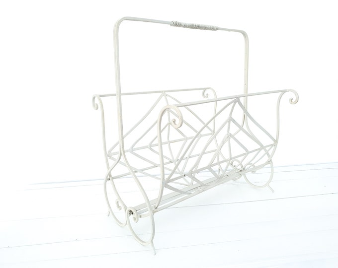 Vintage metal magazine holder in off white • magazine rack • white home decoration • newspaper storage rack • magazine basket