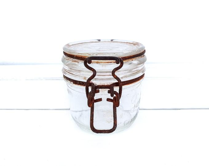 Vintage French glass preserving jar Le Parfait Super • glass canning jar • storage jar with clip closure • kitchen decor glass accents
