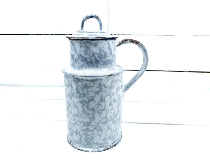 Vintage clouded enamel milk pail • old milk container • vintage graniteware milk jug • rustic farmhouse enamelware • milk can