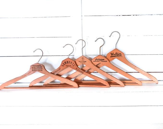 Vintage wooden clothes hangers with slogan (set of 5) • old wooden coat hangers • wooden dry cleaning hangers • antique hanger #4