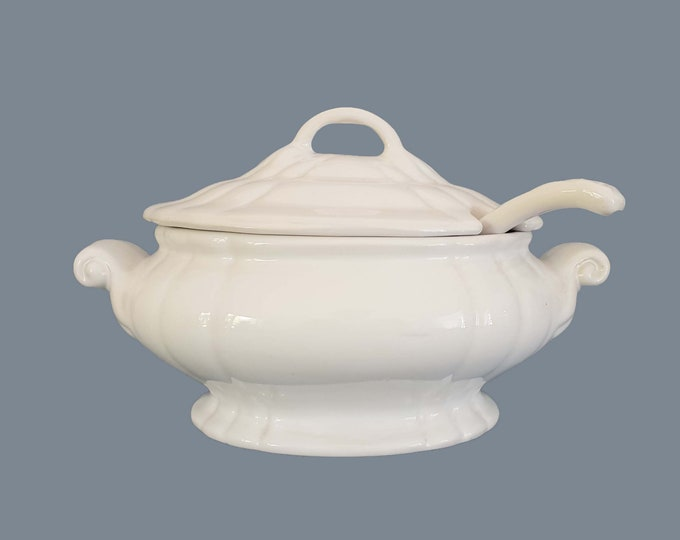 French white ironstone tureen • serving dish • antique white soup bowl • shabby chic tableware • country farmhouse kitchen decoration # 1