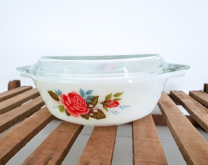 Vintage serving dish milk glass roses • pyrex dish with lid • cottage rose baking dish • vintage glassware • retro crockery dish