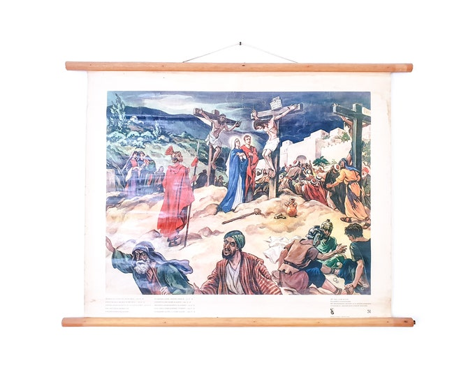 Old linen school chart • biblical painting • religious wall decoration • Bowing his head, he gave up the ghost - Joh. 19:30
