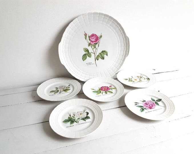 Vintage cake / dessert plate set 'mixed flowers'