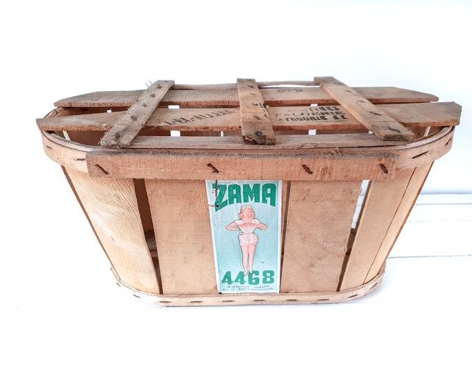 Vintage Moroccan oval split wood tomato harvest basket ZAMA • fruit basket • picking basket • harvest basket • country farmhouse decor #3