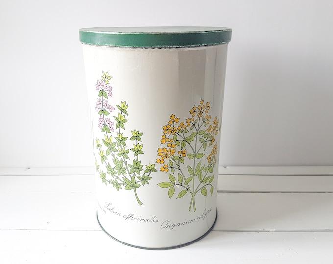 Vintage storage tin 'Herbs' * large storage tin * collectible tin * vintage home decoration * farmhouse decor