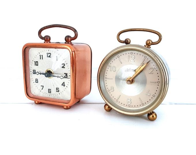 Vintage small alarm clock copper • old alarm clock gold Salvert 1920 • vintage travel clock • antique alarm clock