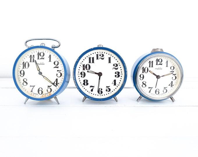 Cute vintage alarm clock blue Wehrle • antique mechanical alarm clock • collectors clock