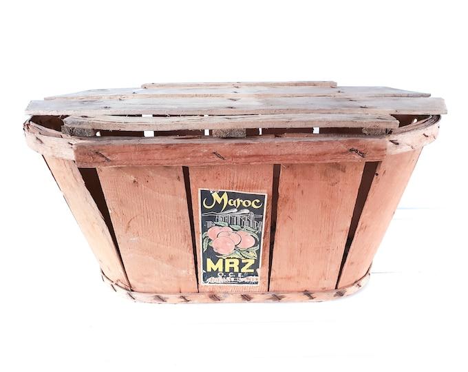 Vintage Moroccan split wood tomato harvest basket • oval fruit basket • fruit picking basket • harvest basket • country farmhouse decor #2