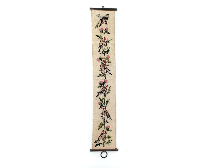 Vintage embroidered bell pull cord birds and flowers • floral embroidery wall hanging • vintage cross stitch wall decor • vintage gift