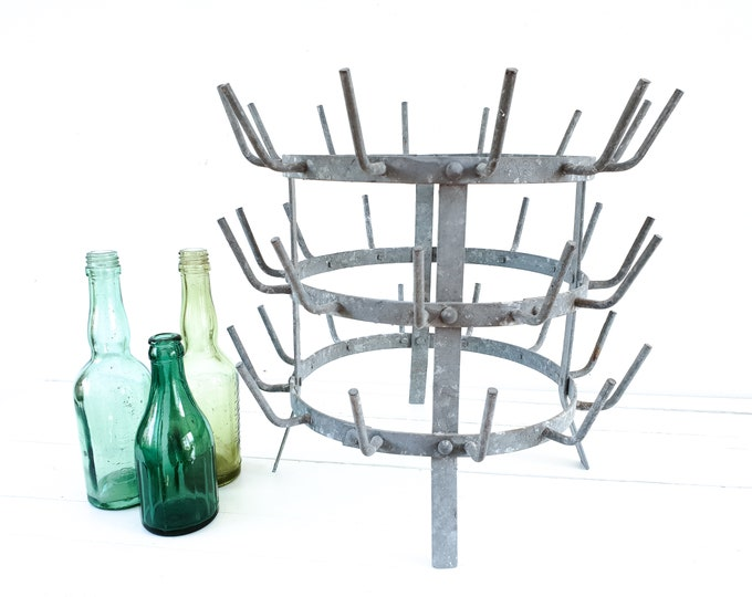 Vintage French metal wine bottle rack • old bottle drying rack • French antique rack • vintage French country • mug tree