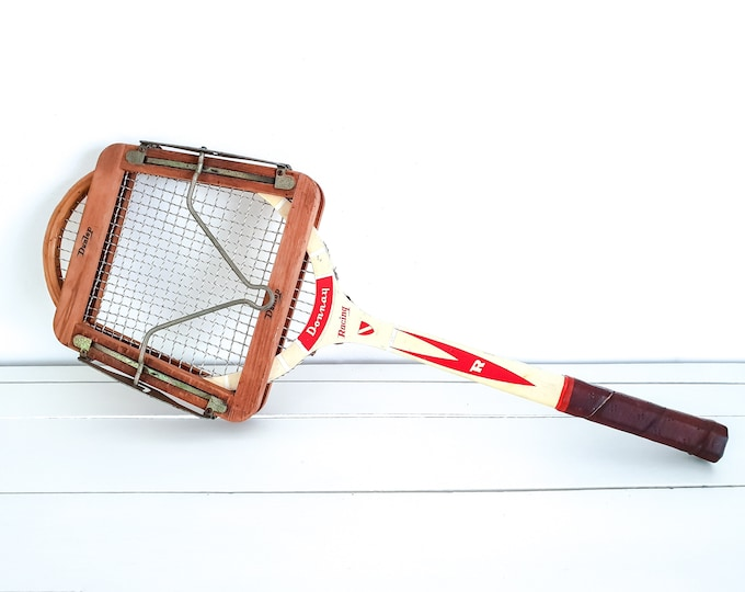 Vintage wooden tennis racket Donnay with tensioner • Donnay Racing racket • old collectible sport equipment • tennis memorabilia