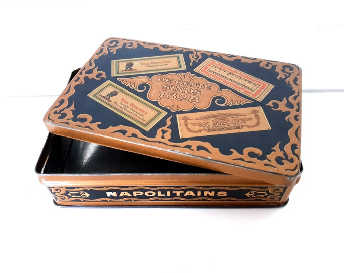 Antique bonbon tin Van Houten chocolate Napolitains • collectable tin can • tin boxes • vintage tins Van Houten • classic home decoration