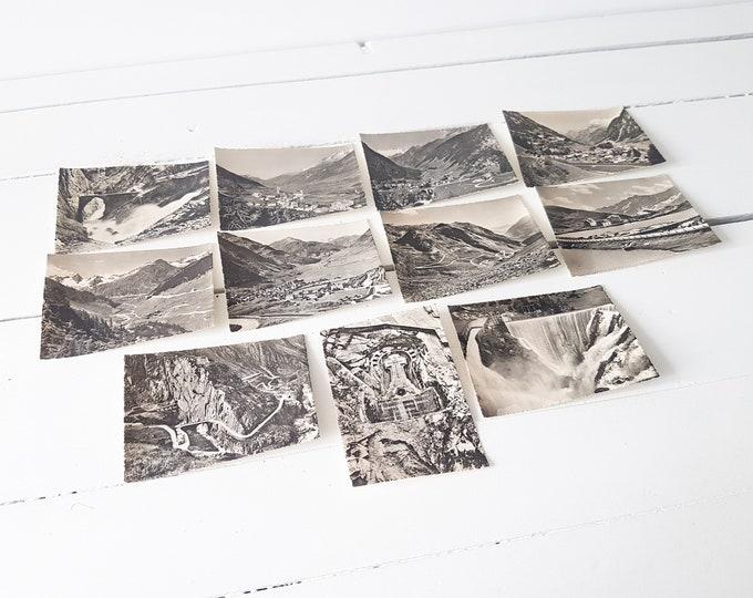 Lot old photo cards 'Gotthard, San Gottardo' Switserland * vintage snapshots * Swiss souvenir * black and white photos