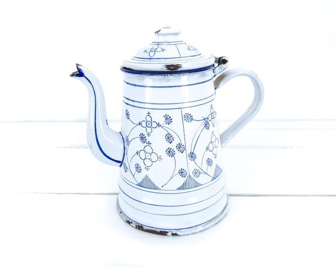Saks Blau enamel teapot • white farmhouse decoration • white enamel jug • vintage white enamelware • Saxon blue tableware