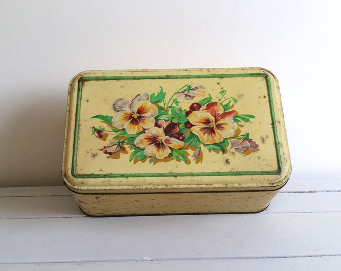 RESERVED Amazing vintage Frenchlarge storage tin 'Violets'